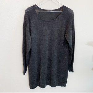 Eileen Fisher grey metallic tunic top